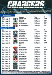 San Diego Charger Schedule
